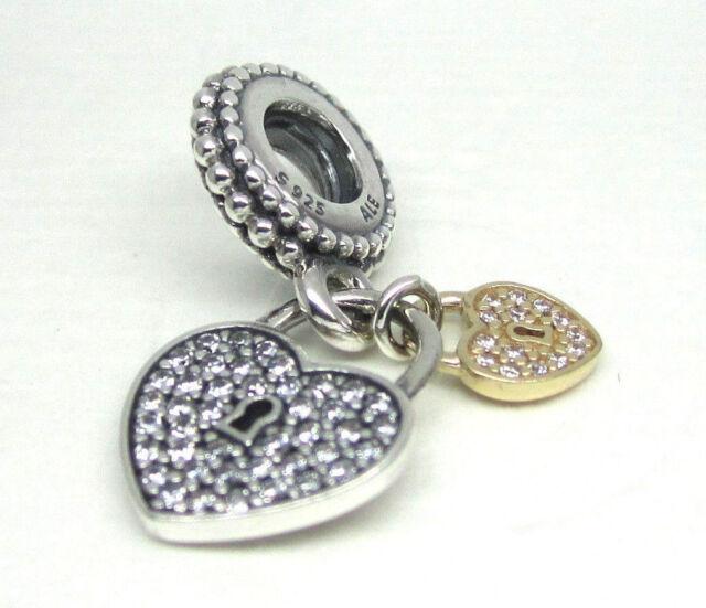 70de7ecb4 791807CZ PANDORA Sterling Silver & 14k Gold Love Locks Heart Dangle ...