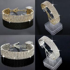 Femme-Bijoux-Bracelet-Manchette-Crystal-Strass-Argent-Bangle-Mariage-Cadeau-Neuf