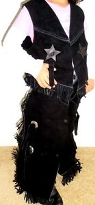 SHOWMAN BLACK SUEDE VEST & CHAPS KID DRESSUP ALL SIZES