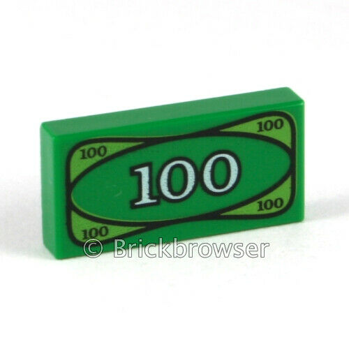 Lego 100 Green Money Tile x 5 NEW