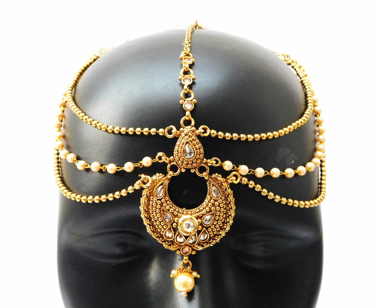 Indian Bollywood Matha Patti Ethnic Bridal Jewelry Fashion Head Decoration Tikka