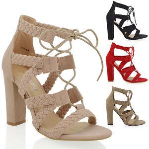 NUOVO Donna cadged caviglia tacco alto con lacci Intrecciato Sandali cinturini