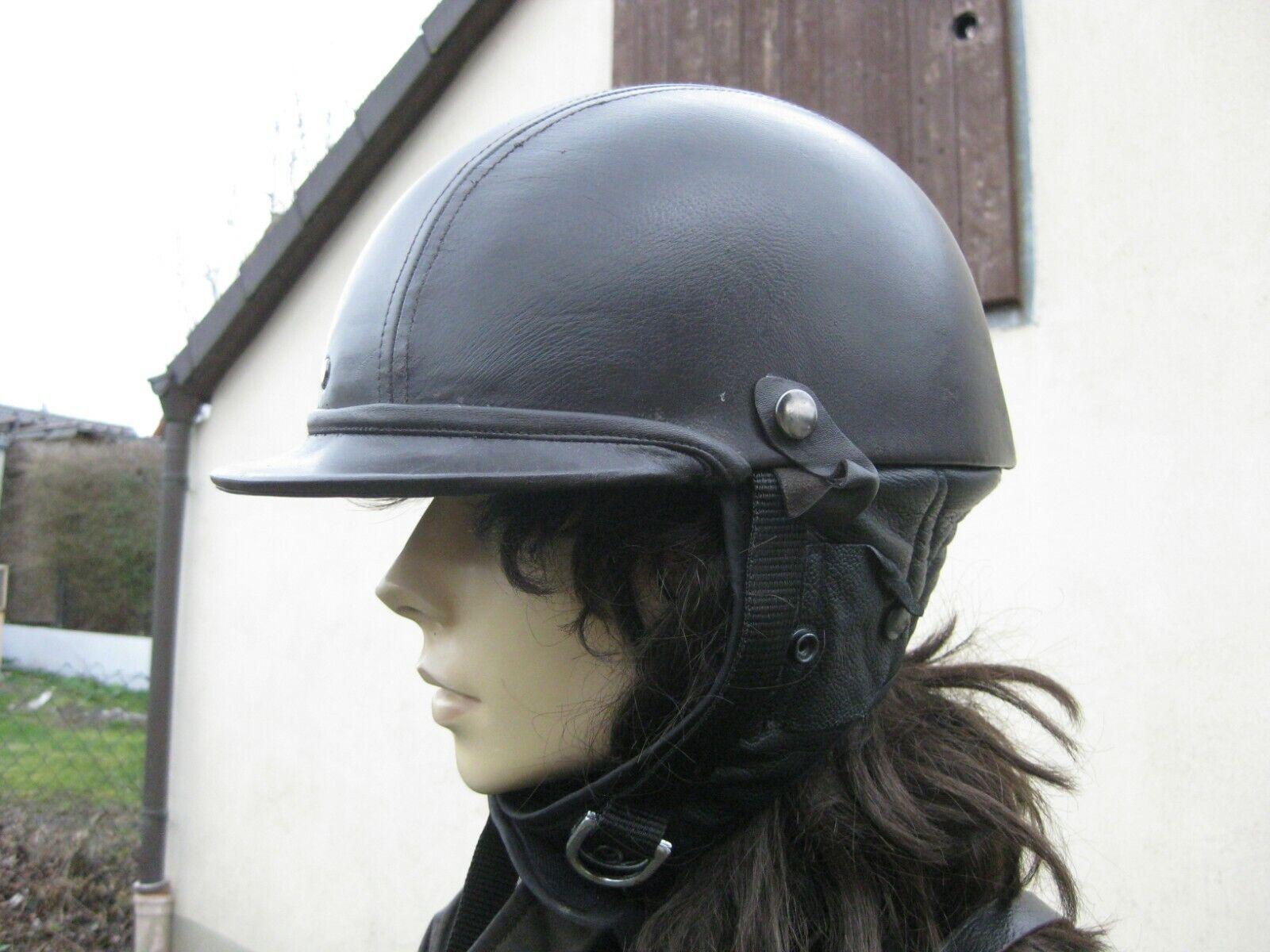 VINTAGE glasfiber casco con ricoperti in pelle