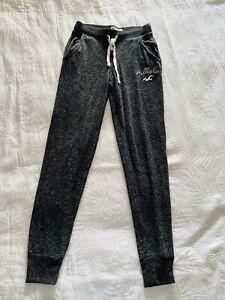 Hollister Mujer Gris Calido Rompevientos Pantalones Con Logotipo En Blanco Tamano Xs Ebay
