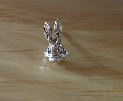 SINGLE Sterling Silver TINY 9x9mm Easter Bunny Rabbit Face Stud Earring