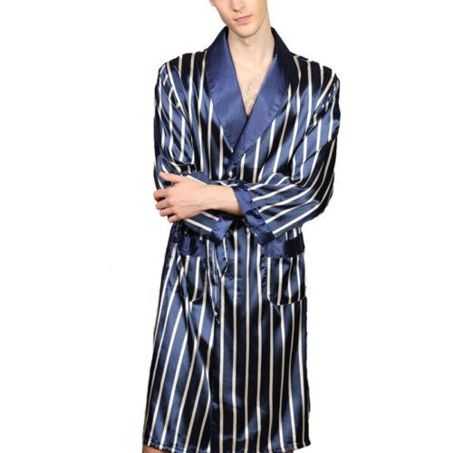 Men Fashion Long Sleeve Bathrobe with Striped Casual Home Bathrobe Pajamas