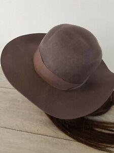 Brixton-100-Wool-Hat-Piper-Floppy-LARGE-Fedora-Hat-Size-Medium-COLOUR-PLUM