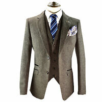 Mens Designer Herringbone Tweed Wool Blazer Waistcoat Trousers 3 Piece Suit