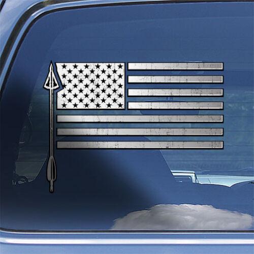 USA Flag Bow Hunter Decal Sticker bow hunting arrow head window decal sticker