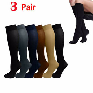 3-Pairs-Copper-Socks-30-40mmHg-Graduated-Support-Mens-Womens-Compression-S-XL