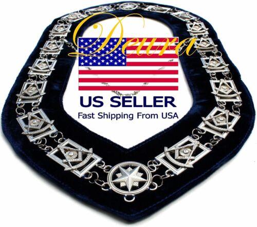 Masonic Regalia PAST MASTER Metal Chain Collar BLUE Backing DMR-200SB