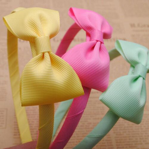 Pretty Baby Girls Kids cute small delicate soft fabric Bow Hair Alice Headband