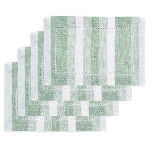 "Sferra Ascot Cocktail Napkins Herringbone Stripe Woven Pure Linen 6x9/"" SET//4 New"