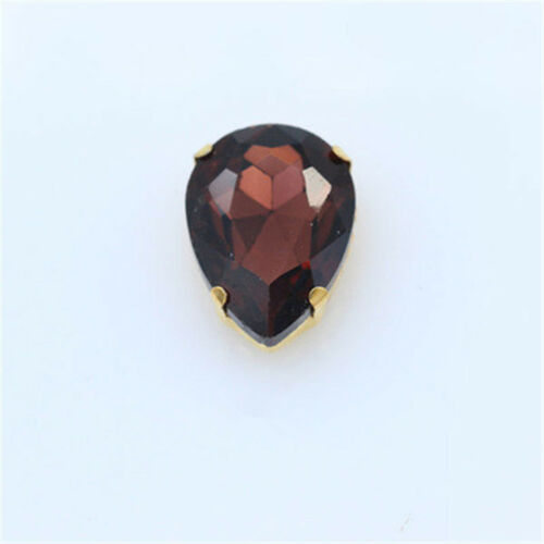 36pcs Sew On 13x18mm teardrop rhinestone crystal cut glass cabochons gold claw