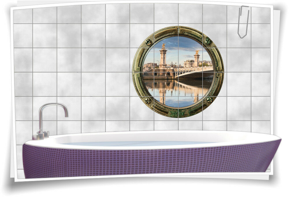 Fliesenaufkleber Fliesenbild Fliesen Bullauge Skyline Fluss Stadt Aufkleber Bad | Ideales Geschenk für alle Gelegenheiten