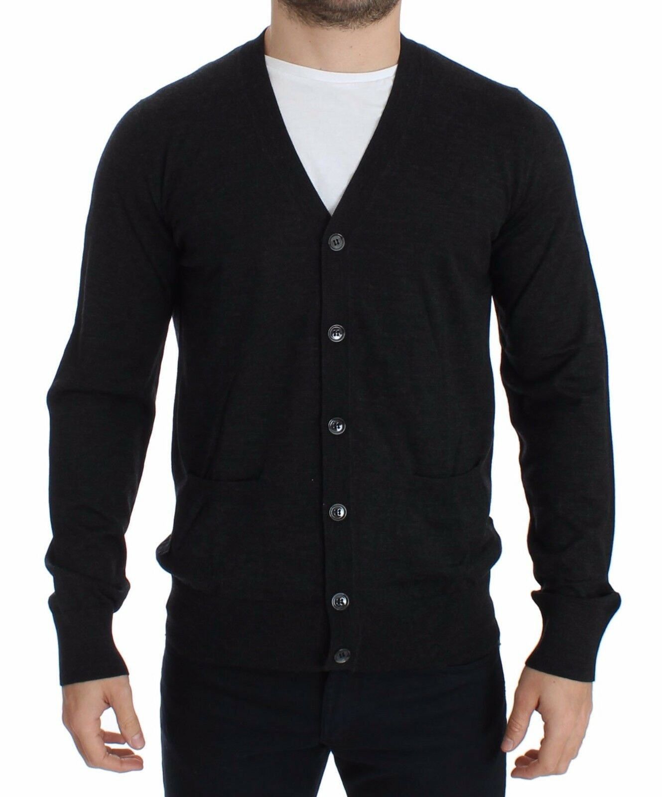 NEW 550 DOLCE & GABBANA Cardigan Sweater  Herren grau Wool Pullover Top IT44 / XS