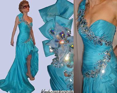 $450 TONY BOWLS LE GALA BLUE BEADS RHINESTONES LONG DRESS HI SLIT ONE-SHOULDER 4