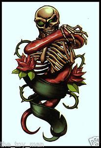 Skull skeleton rose temporary tattoo arm back neck leg for Gothic neck tattoos