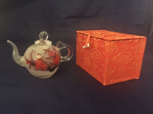 red plum blossom reversed paint Hand painted glass teapot antique glass art