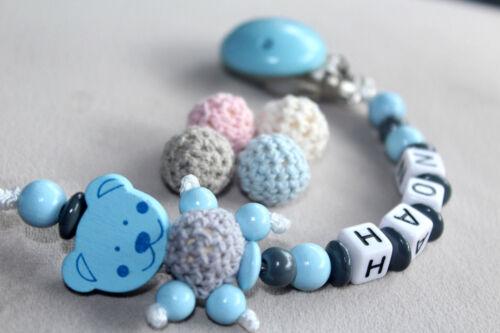 Schnullerkette mit Namen ★ Teddy Bär ★ Natur Holz Junge Blau Baby Geschenk