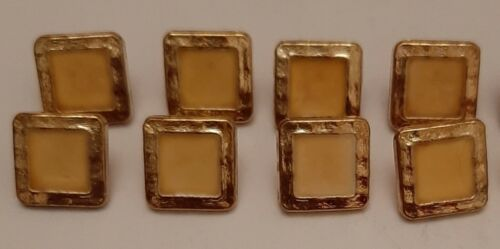 8 x 14mm Gold and Yellow Square Plastic Shank Buttons LX908