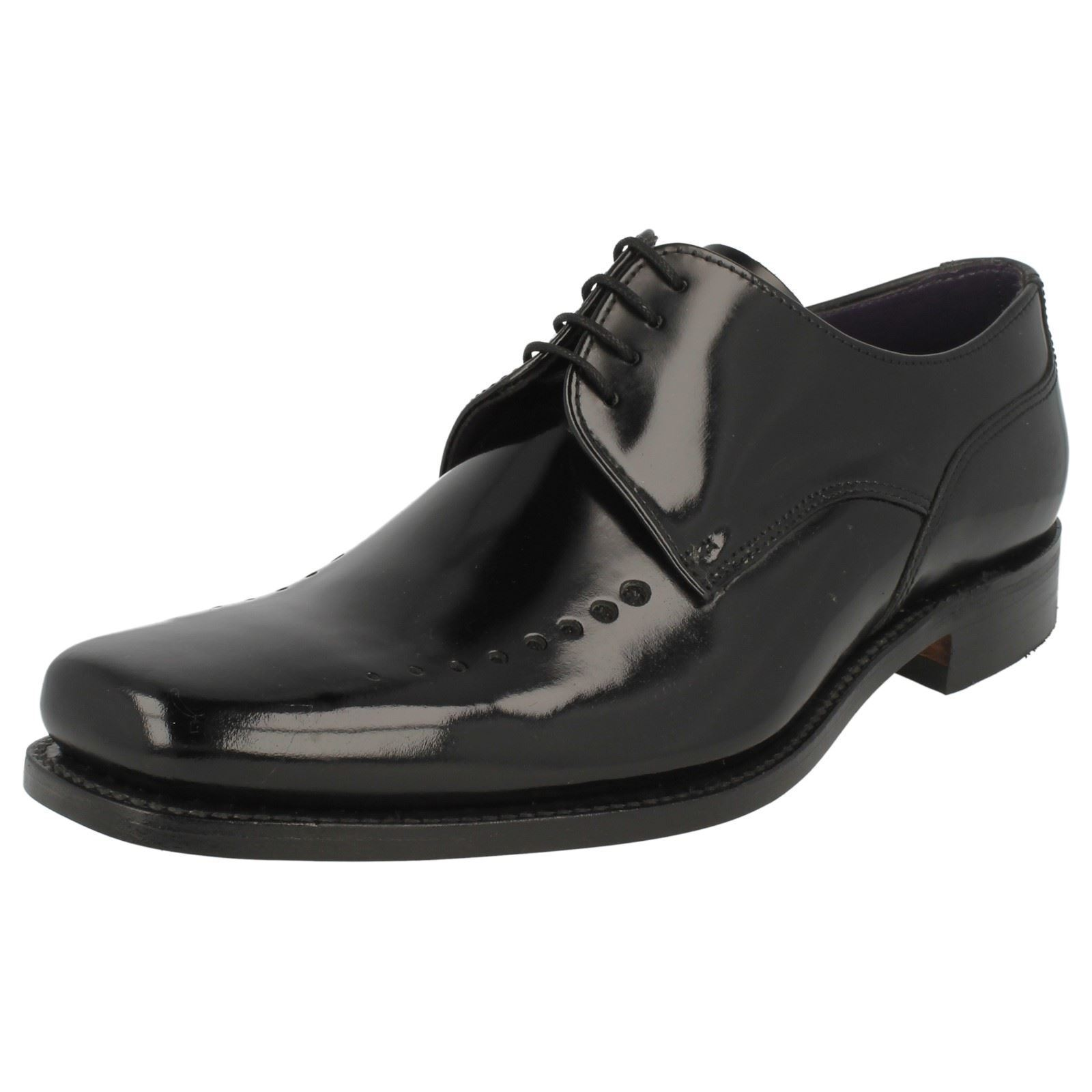 Mens Black Leather Lace Up Loake Formal Shoes Poseidon