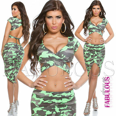 Sexy Womens 2 Pcs Set Camo Military Army Wrap Crop Top Size 10 4 6 8 Skirt S / M