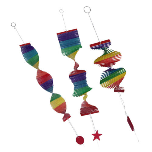 3pc Colorful Hanging Spiral Wind Spinner Bamboo Mobile Wind Chime Windchime