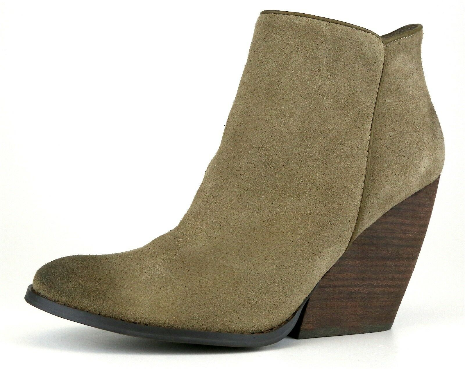 Very Volatile Whitby Demi Women's Wedge Suede Bootie Olive Sz 10 1050