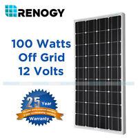 Renogy 100w Watt Solar Panel Mono 12v Volt For Off Grid Rv Boat Battery Charge