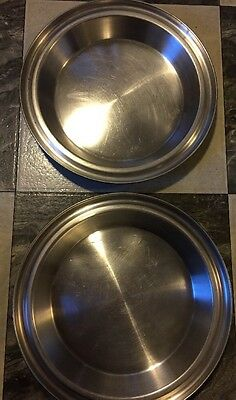 "Stainless Steel Pie Plates 9"" 11"" Rim Lot Of 2 Industrial"