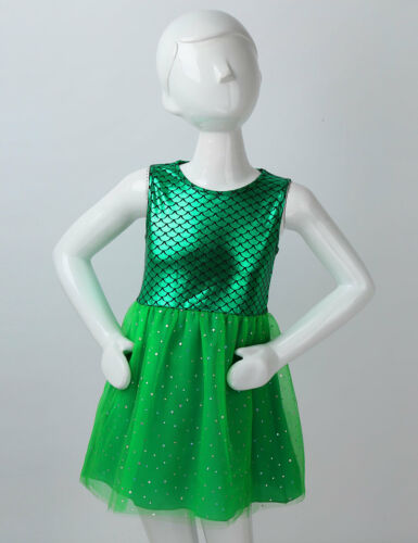 Kids Girls Mermaid Dress Tank Tops Glittery Tutu Skirt Party Cosplay Costume Set