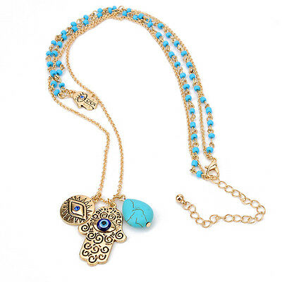 Hamsa Hand Of God Fatima Evil Eye Charm Pendant Bead Turquoise Chain Necklace
