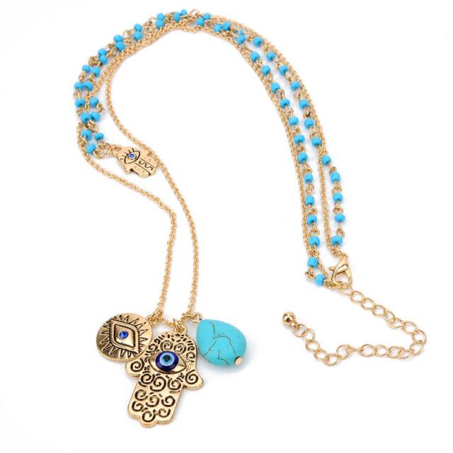 Hamsa Hand Of God Fatima Evil Eye Charm Pendant Bead Turquoise Chain Necklace
