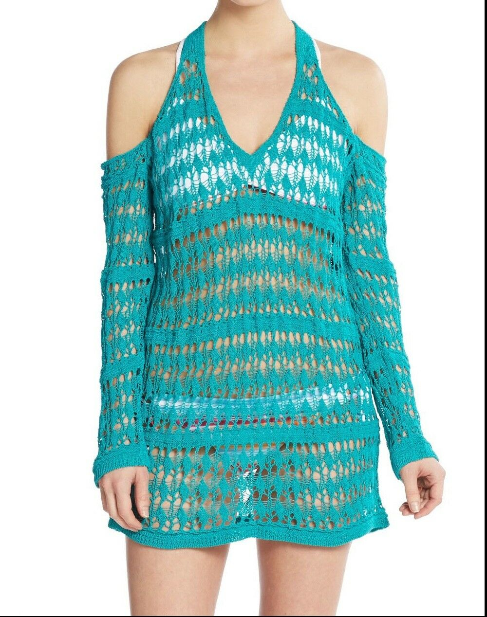 Anthropologie L Space Swimsuit Cover Up Dress XS Teal bluee Crochet Shoulder  169