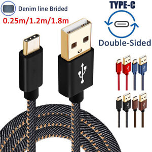 1-4-6FT-Denim-Wire-Gold-Plug-Type-C-3-1-amp-Micro-USB-Data-Sync-Charger-Cable-Cord