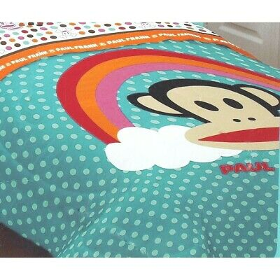 Blue Monkey Bedding Blanket Decor PAUL FRANK RAINBOW Polka Dots TWIN COMFORTER