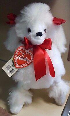 "White Poodle Puppy Dog Plush 15"" KB Bros w/ Red Bows Vintage Stuffed Animal"