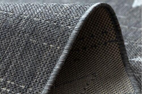MODERNE NATÜRLICHE SISAL Teppich FLAT Stern grau Flach webart Einfach zu säubern
