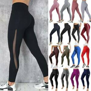 Women High Waist Sport Shorts Yoga Pants With Pocket Workout Fitness Leggings M8