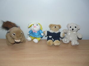 LOT-OF-4-STUFFED-ANIMALS-2-BEARS-1-RABBIT-amp-1-SQUIRREL