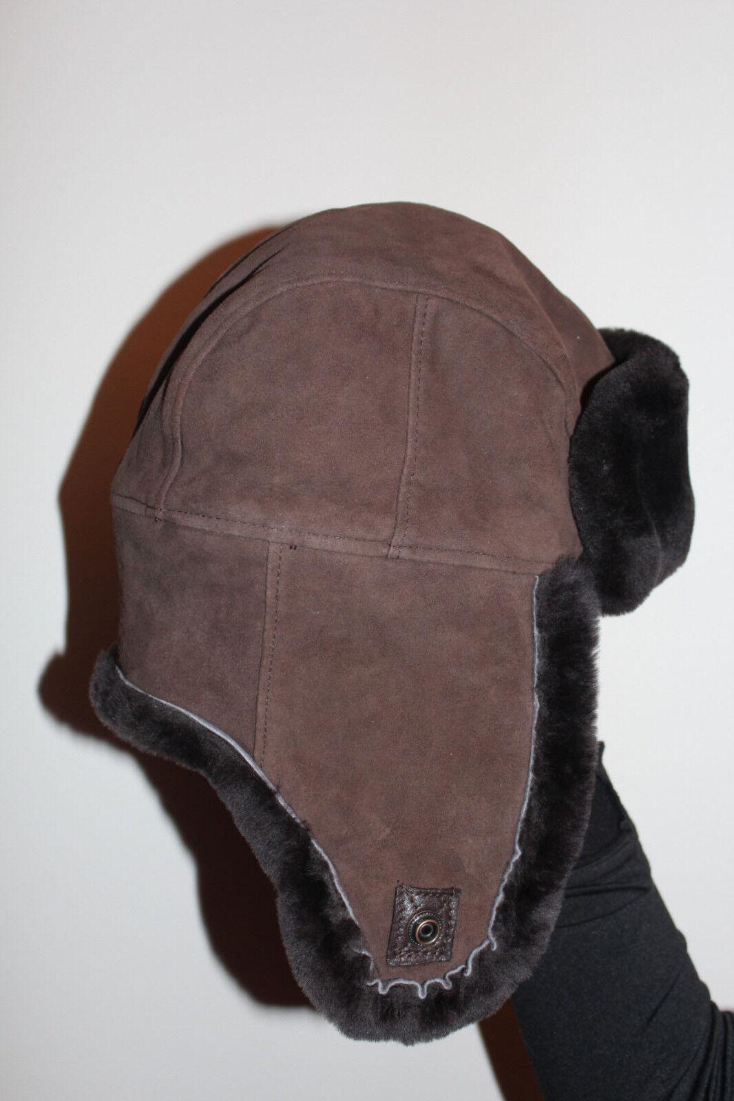 150 $ TNO UGG CASQUET AVIATEUR BRUN DE Peau de mouton brun L / XL