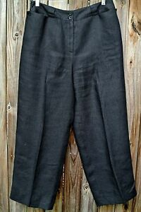 Talbots Black Linen Cropped Pants/Ankle Pants Front Pockets-10-EC ...