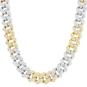 """Hip Hop Miami Cuban Necklace 24/"""" Chain 15mm Thick 2 Tone Full Iced Out 226 Grams"""