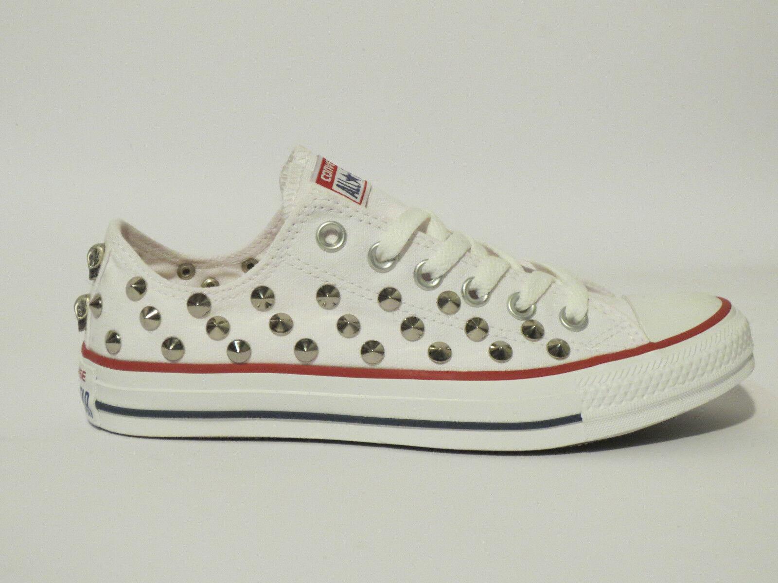 Converse all star OX  donna borchie teschi  scarpe donna  uomo BIANCO artigianali 9d0d52