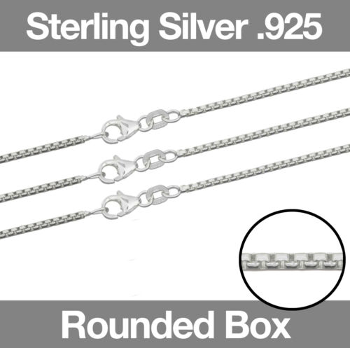 """Sterling Silver ROUND BOX Chain Necklace 16/""""//18/""""//20/"""" with Clasp"""