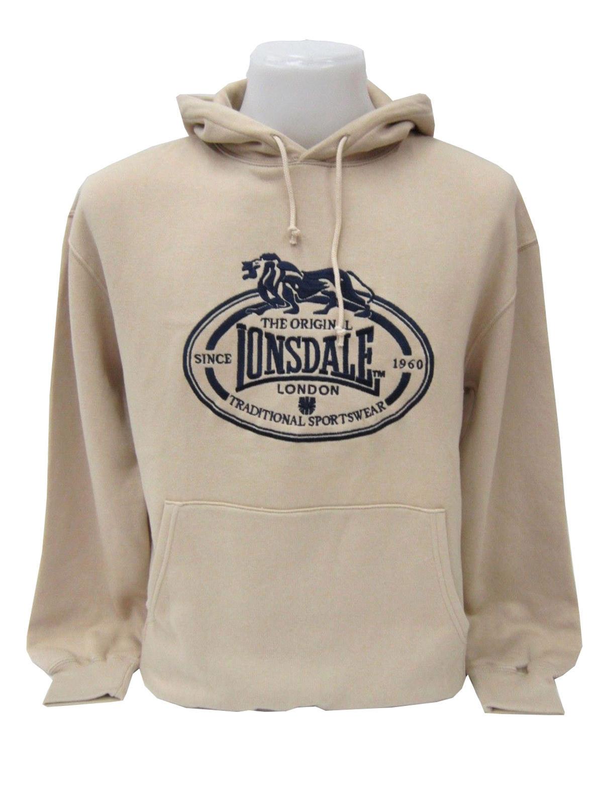Hoodie Pull Sur Le Lonsdale Sable Vintage Capuche Côté Brodé Sweat 67fWvC