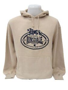 Lonsdale-Kapuzenpullover-Pullover-Hoodie-Vintage-Sweat-Sand-Logostick-5017