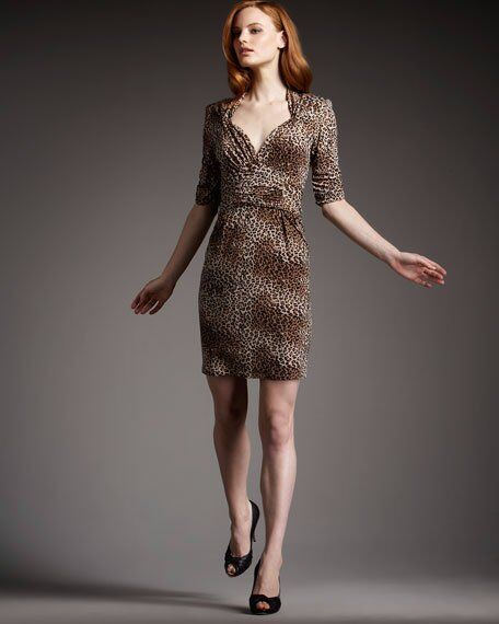 332 Nanette Lepore Leopard Print On The Prowl Silk Jersey Dress 0 NEW N272
