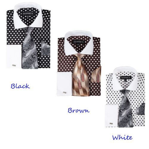 Polka Dot design by Georges/' Style AH613 Men/'s dress shirt with tie and hanky